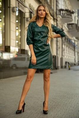 Платье из эко-кожи Темно-зеленое
