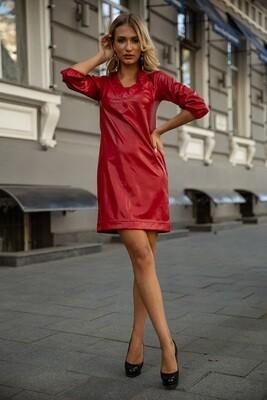 Платье из эко-кожи Красное