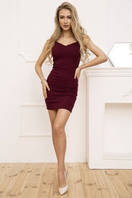 Платье мини цвет Бордовый, также в Хаки и Синем цветах