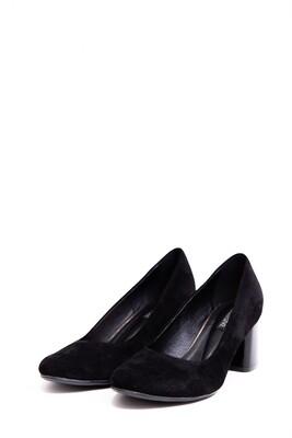 Женские туфли замшевые на толстом каблуке Черные