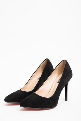 Черные туфли замшевые лодочки на шпильках