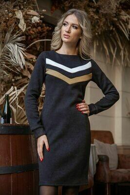 Платье цвет Черно-горчичный