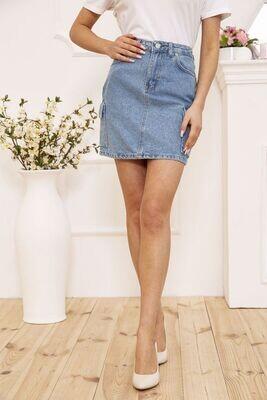 Women's denim mini skirt with side pockets color Blue