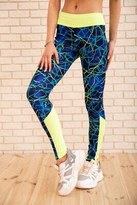 Women's leggings color Blue-yellow