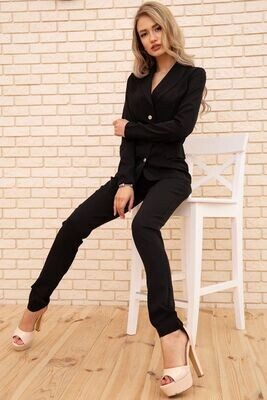 Trouser suit for women with a jacket with buttons color Black