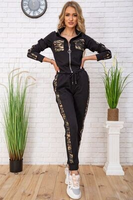 Women's tracksuit with military print color Black