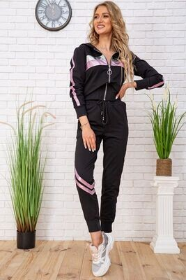 Women's tracksuit with metallic inserts, color Black-pink