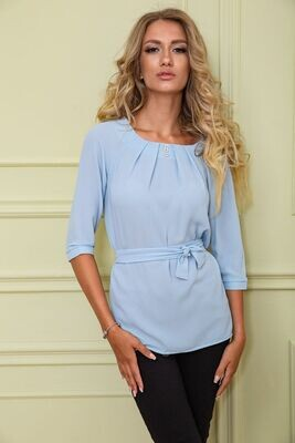 Blouse with sleeves / and belt color Powder