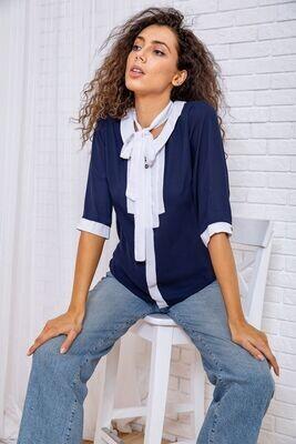 Women's blouse color Blue-white