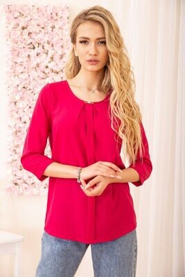 Loose women's blouse with sleeves / color Pink