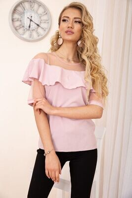 Blouse with ruffles on the shoulders color Powder
