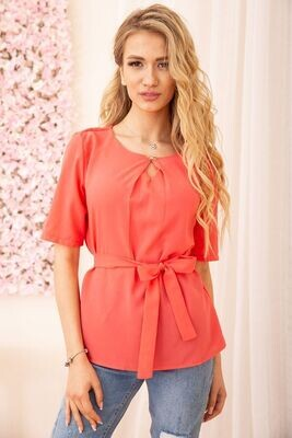 Blouse with short sleeves and a belt color Mint