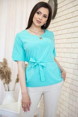 Blouse with short sleeves and a belt color Purple