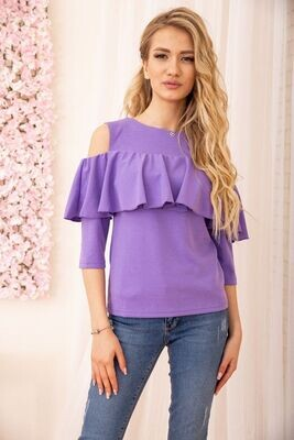 Off-shoulder blouse with ruffle color Purple
