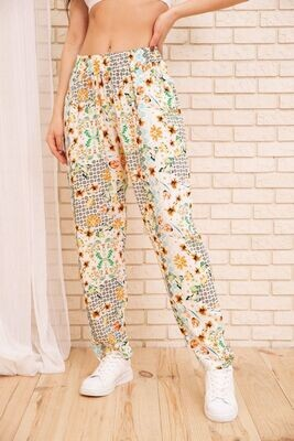 Summer cotton pants with floral print color White powder