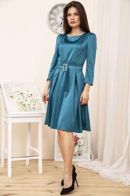 Приталенное платье из атласа цвет Бирюзовый