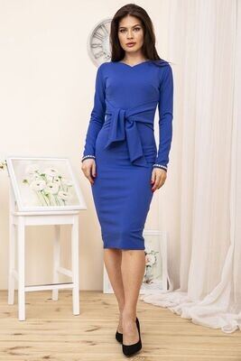 Sheath evening dress with belt, color Electric