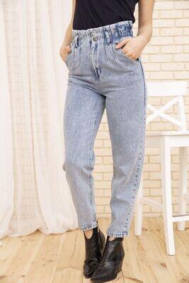 Голубые женские джинсы Paperbag на резинке