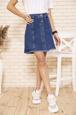 Blue denim skirt with buttons