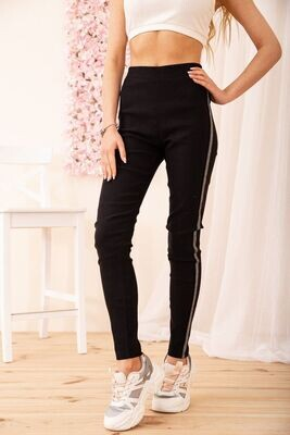 Women's leggings with gray stripes color Black