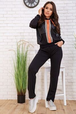 Walking suit women's jacket with a hood and pants Black