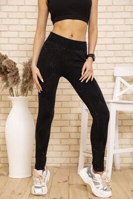 Leggings for women velor warm (eco-fur) color Black