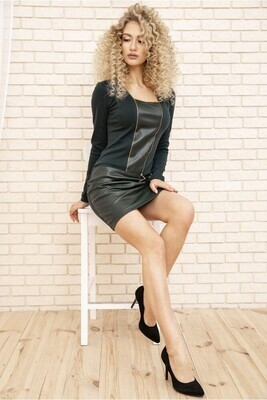 Women's mini dress made of eco-leather color Black
