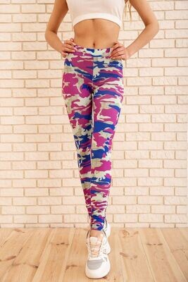 Women's leggings with military print color Lilac