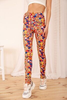 Women's leggings with drawstring and print color Black