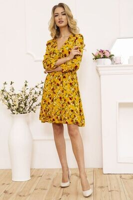 Women's wrap dress with floral print color Mustard