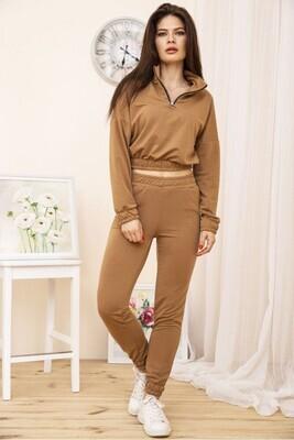 Tracksuit women's sweatshirt with a zipper and pants Khaki