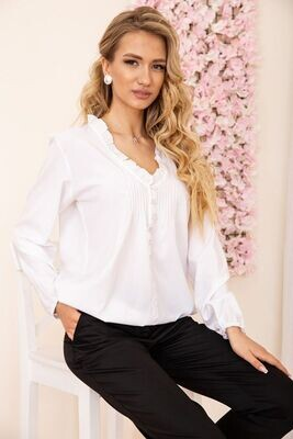 Loose blouse with V-neck color Peach