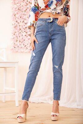 Зауженные джинсы с завышенной талией женские цвет Синий