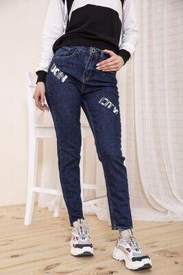 Женские прямые джинсы темносинего цвета с принтом