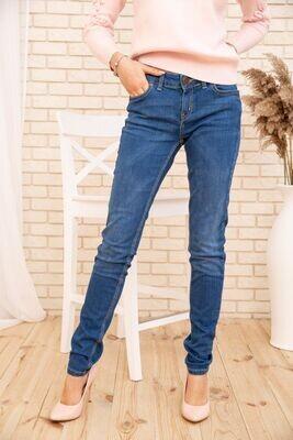 Зауженные женские джинсы с высокой талией цвет Синий