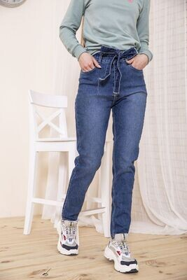 Женские джинсы с завышеной талией синего цвета