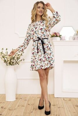 Women's dress with a belt with a floral print color White