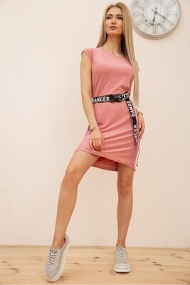 Summer dress with short sleeves and a belt color Khaki