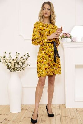 Women's dress with a belt with a floral print color Mustard