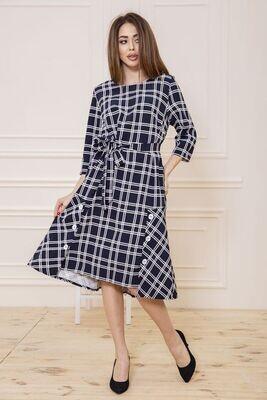 Plaid Long Sleeve Flare Midi Dress Blue