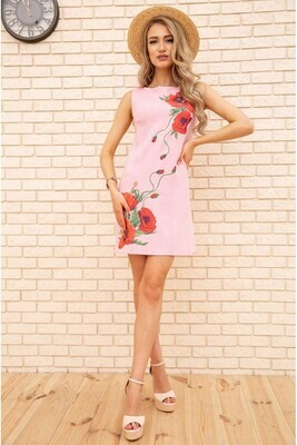 Short dress made of linen with Poppies flowers color Powder