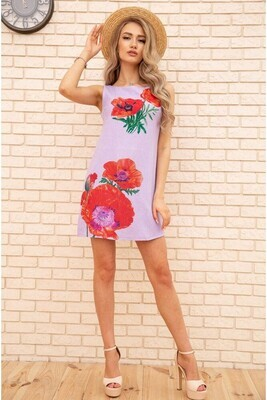 Short dress made of linen with Poppies color Lilac