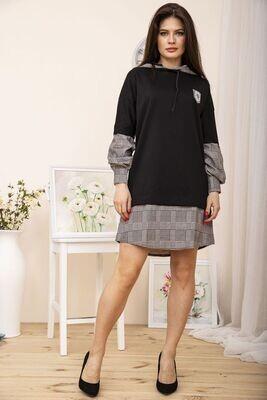 Платье в спортивном стиле с капюшоном Серая клетка цвет Чёрный