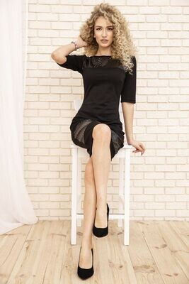 Women's straight dress with short sleeves color Black