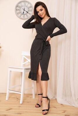 Ruffle Knit Wrap Dress Black