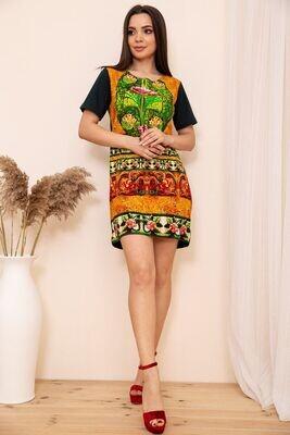 Прямое мини платье с короткими рукавами и орнаментом цвет Зелёный