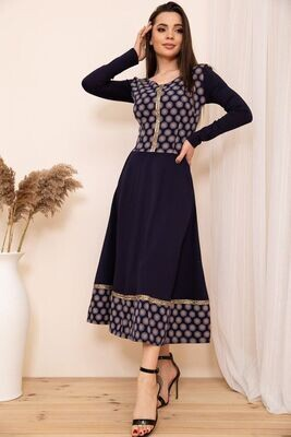 Ornate dress with flared bottom color Blue