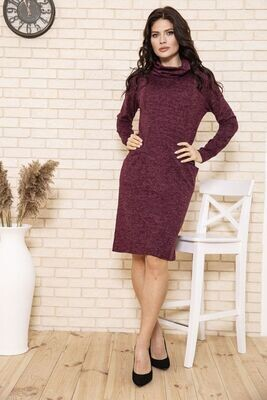 Women's dress sheath knitted from angora color Brown