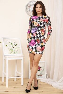 Mini dress Houndstooth with flowers color Black and white