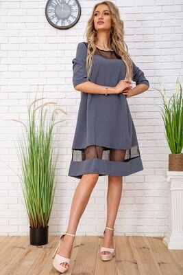 Loose fit dress with tulle inserts color Gray